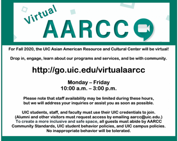 Instructions on how to join Virtual AARCC at go.uic.edu/virtualaarcc